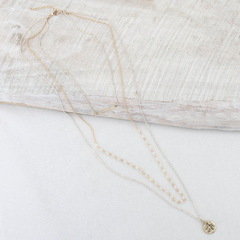Layered Gold Chain Necklace with Bar & Coin