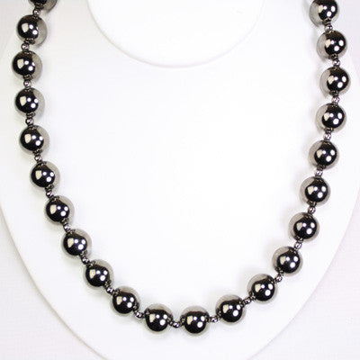 24î Gunmetal Bead Stretch Necklace