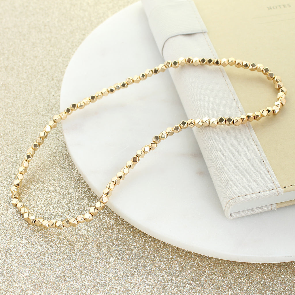 "18"" Gold Bead Stretch Necklace"