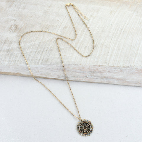 Gold Chain with Sundial Necklace