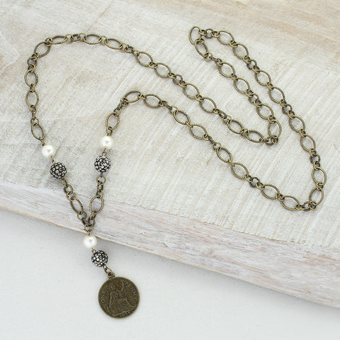 Coin, Pearl & Hematite Necklace