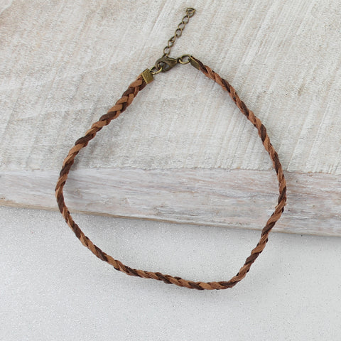 Two-Tone Brown Braided Leather Choker