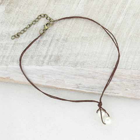 Brown Cord & Pearl Choker