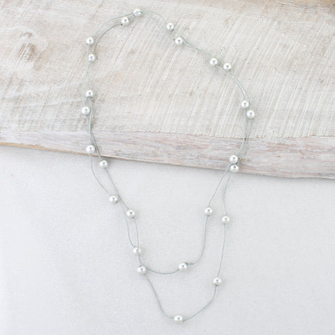 Gray Cord & Gray Pearl Necklace