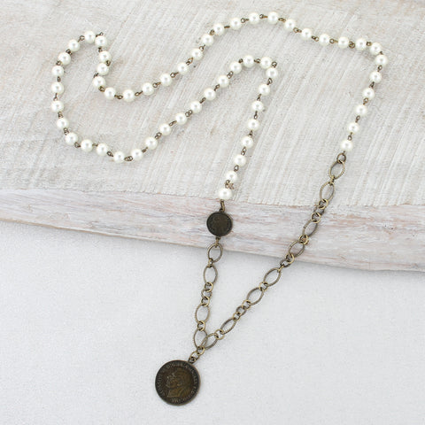 Pearl & Vintage Chain Necklace with Coin Pendant