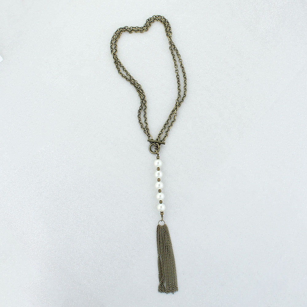 "Vintage Style Tassel & Pearl Drop 30"" Convertible Necklace"
