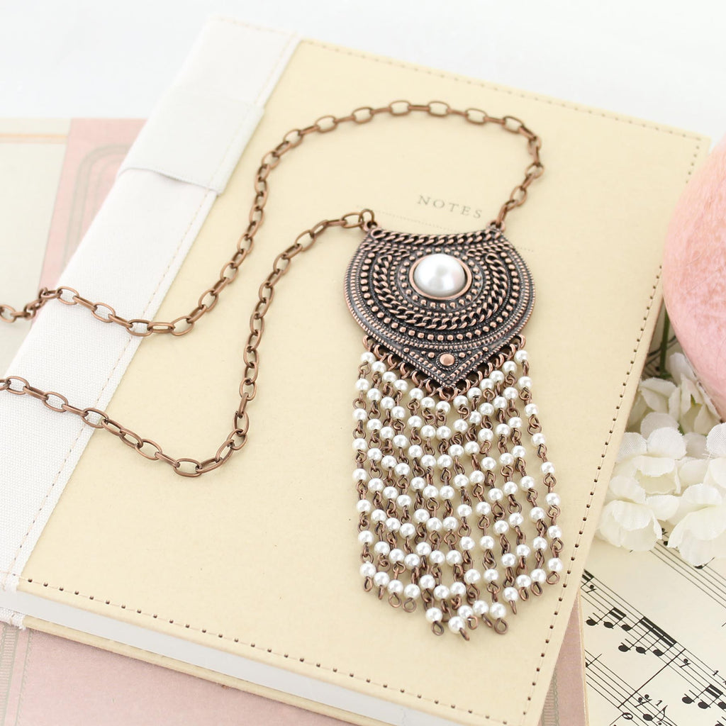 "34"" Copper Shield Necklace w/ Pearl Tassel"