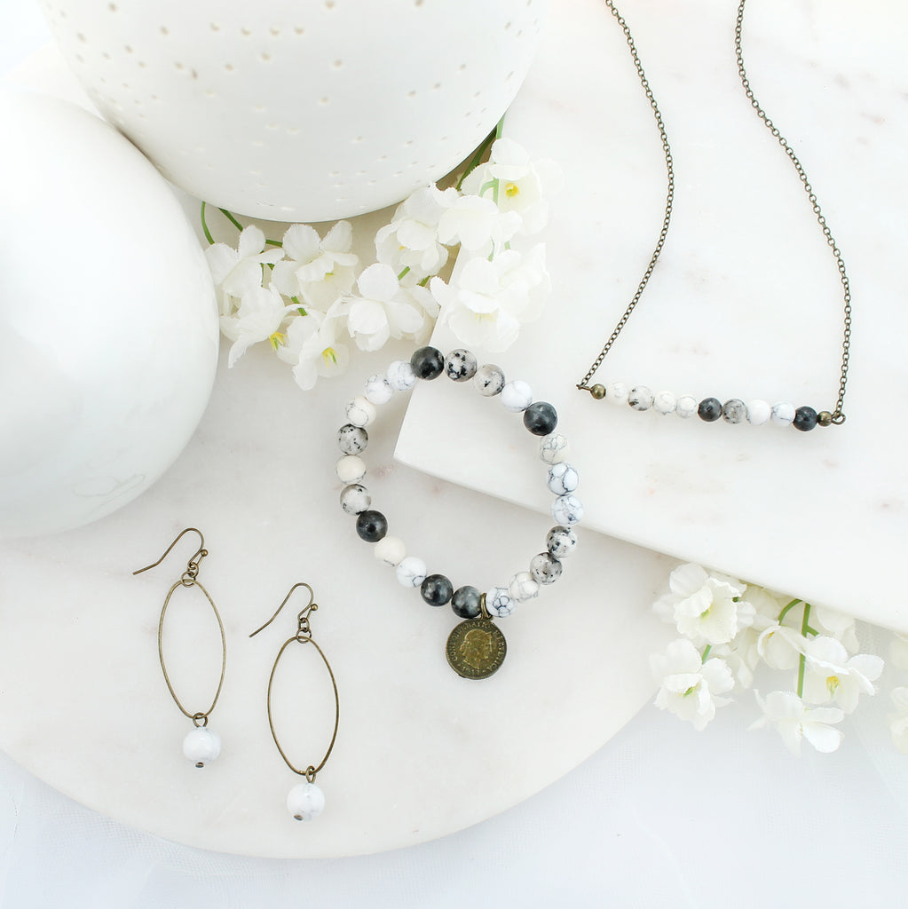 Oval & Marble Stone Bead Earrings