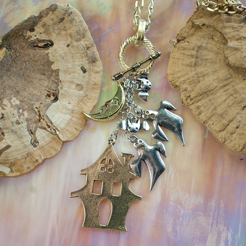 Seasons Jewelry Toggle Necklace - Haunted House and Ghosts