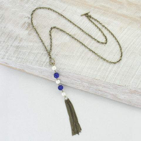 Blue Sparkle Bead Necklace with Pearls & Tassel