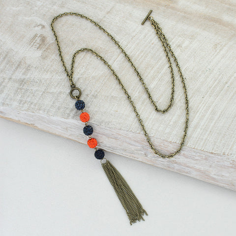 Orange & Navy Sparkle Bead Necklace with Tassel