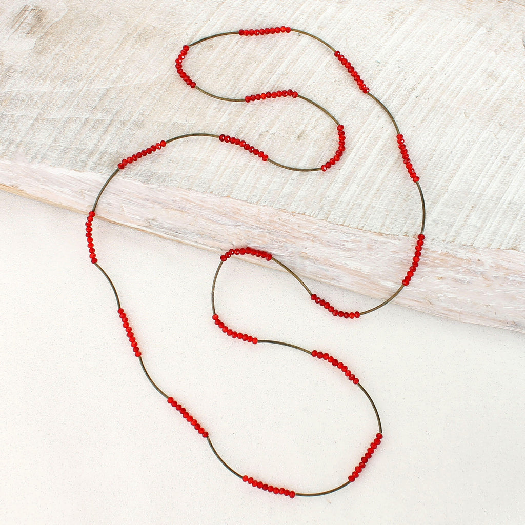 Vintage Style Red Crystal Bead 44Ó Stretch Necklace