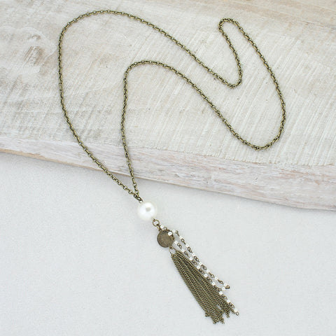 Large Pearl & Metal Tassel Vintage Chain Necklace