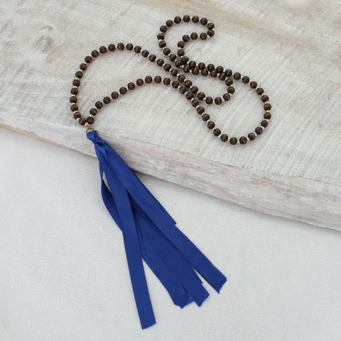 Wood Necklace with Blue Ribbon Tassel