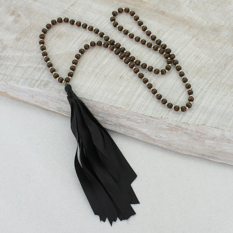 Wood Necklace with Black Ribbon Tassel