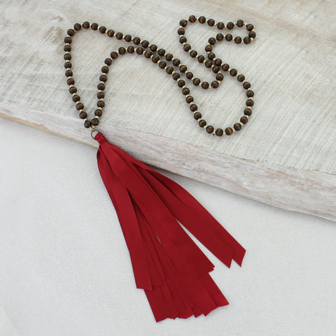 Wood Necklace with Crimson Ribbon Tassel