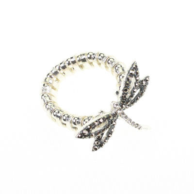 Seasons Jewelry Hematite & Crystal Dragonfly Stretch Ring