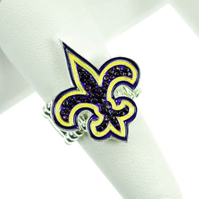 Purple and Gold Fleur De Lis Stretch Ring