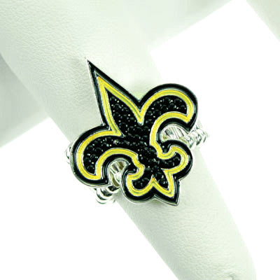 Black and Gold Fleur De Lis Stretch Ring