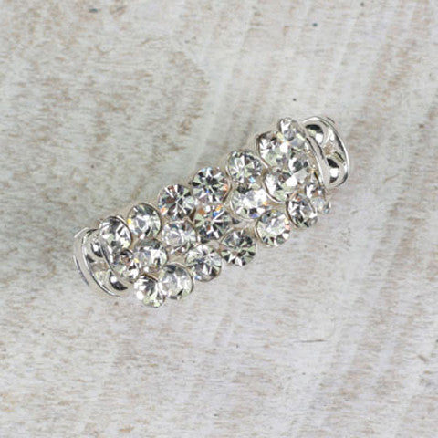 SEASONS JEWELRY RHINESTONE SILVER 3 ROW RING
