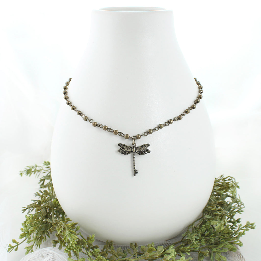"14 - 16"" Vintage Style Dragonfly Key Necklace"