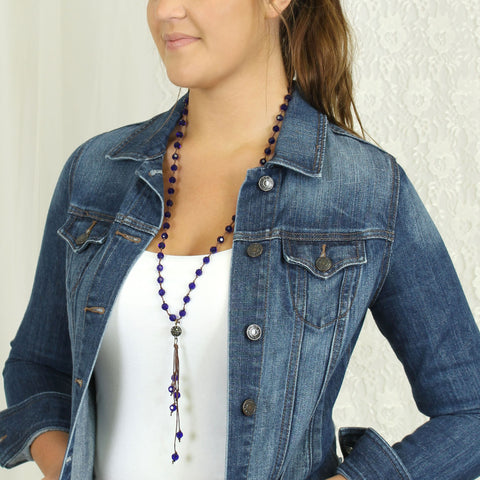 Blue Crystal Knotted Necklace