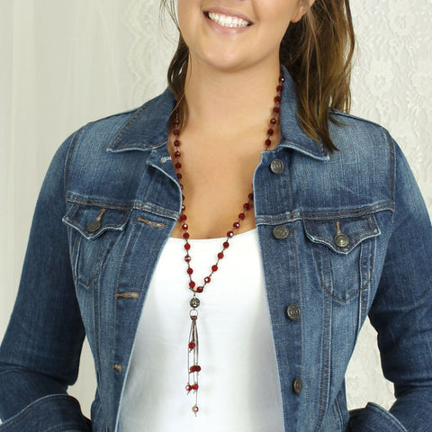 Crimson Crystal Knotted Necklace