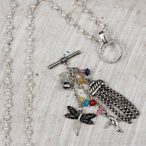 Toggle Charm - Dragonfly with Bird and Tassels
