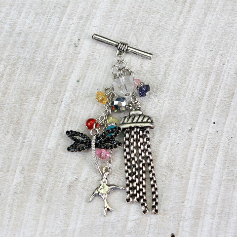 Seasons Jewelry Toggle Charm - Dragonfly with Bird and Tassels