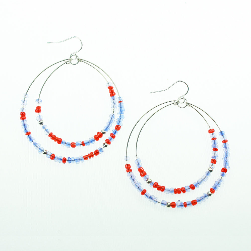 Blue & Red Beaded Hoop Earrings