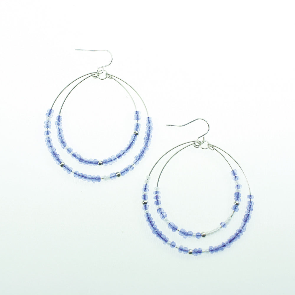 Blue & White Beaded Hoop Earrings