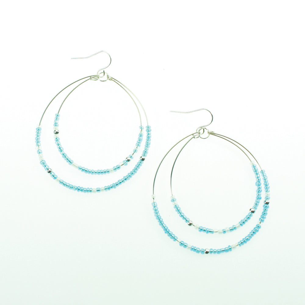 Light Blue & White Beaded Hoop Earrings