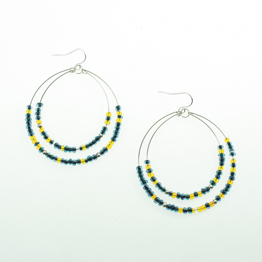 Navy & Yellow Beaded Hoop Earrings