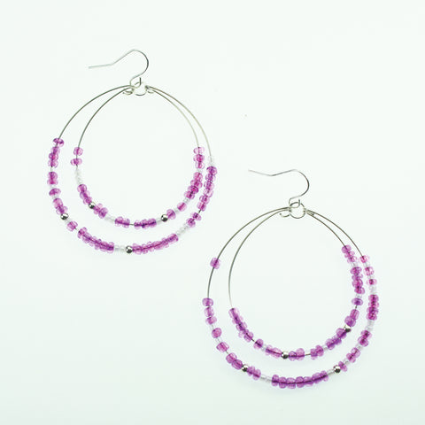 Purple & White Beaded Hoop Earrings