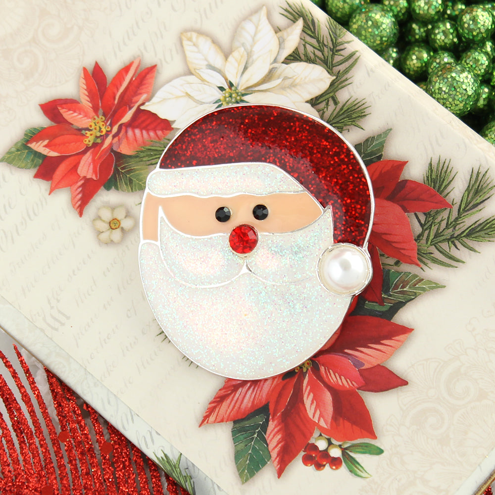 Roly-Poly Glitter Santa Face Pin/Pendant