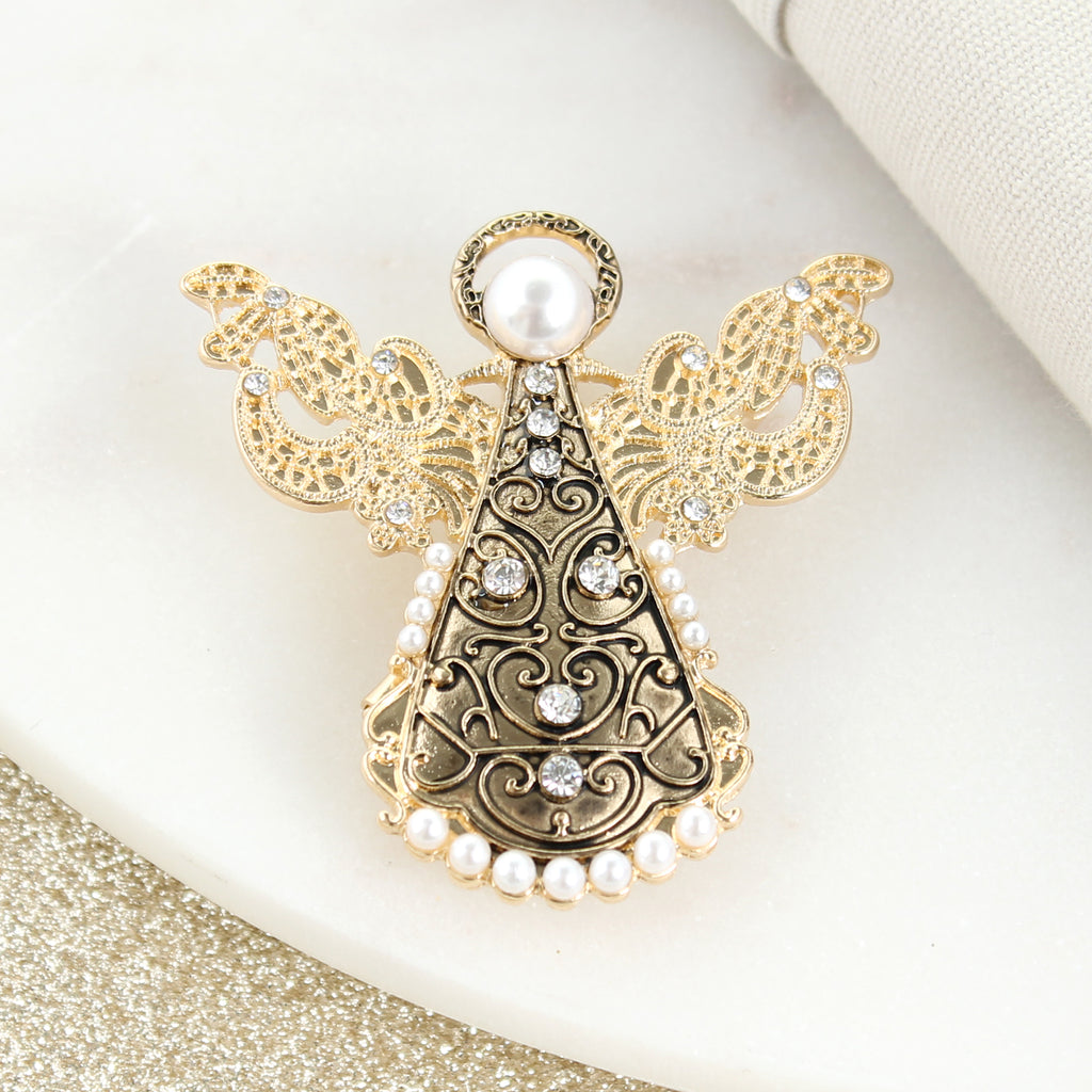 Gold Filigree Angel Pin/Pendant