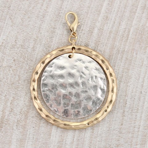 Silver & Gold Hammered Circle Clasp Pendant