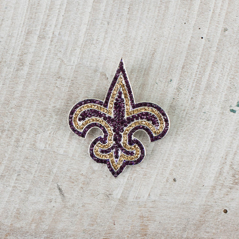 Purple and Gold Fleur De Lis Pendant