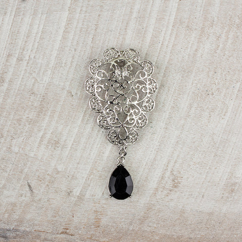 Filagree & Black Crystal Pendant