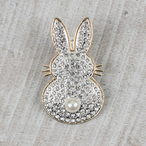 Crystal & Gold Bunny Magnetic Pendant