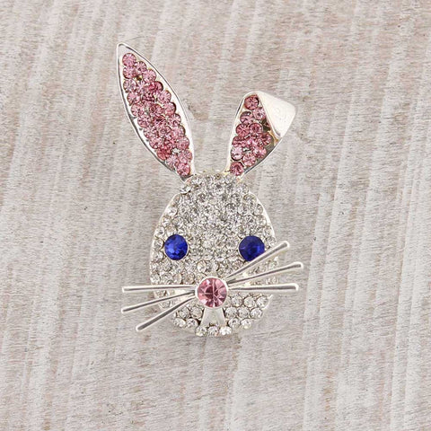 Crystal Bunny Face Magnetic Pendant