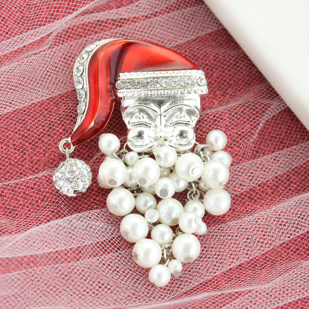 Pearl Dangle Beard Santa Pendant