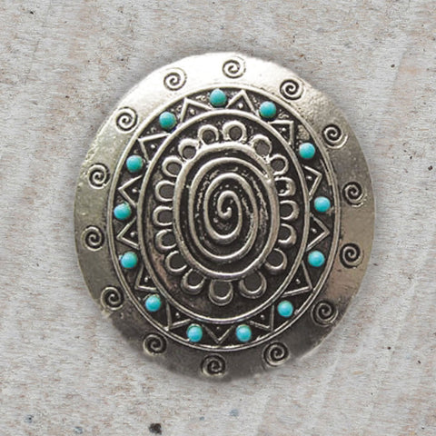 Silver & Turquoise Oval Pendant