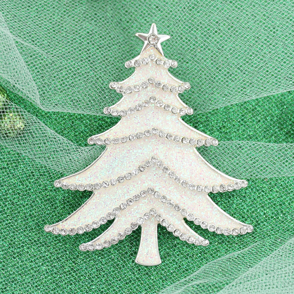 White Glitter Tree Pin/Pendant
