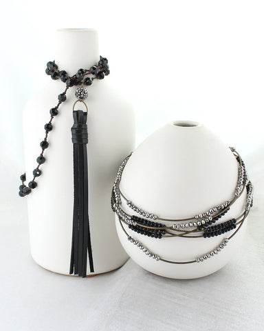 Black Crystal Knotted Necklace with Black Tassel
