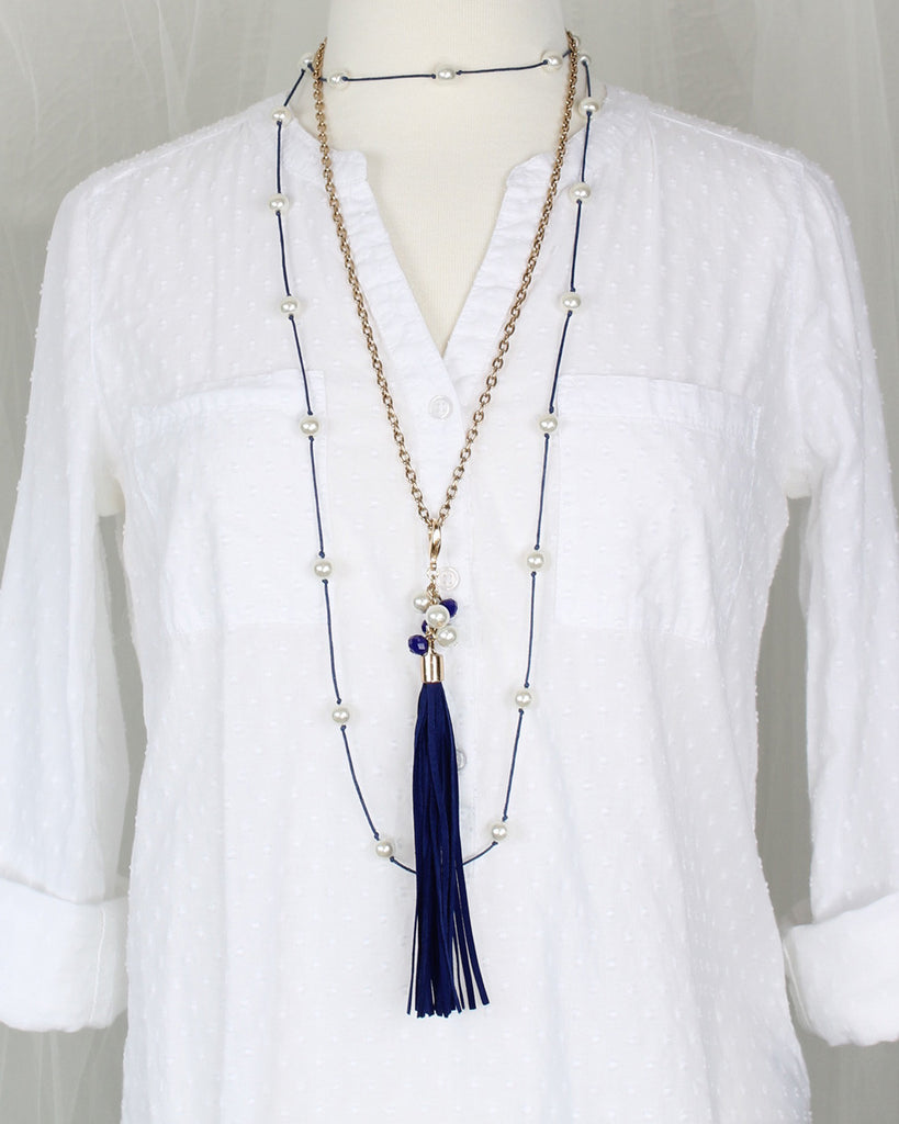"60"" Pearl & Blue Cord Necklace"