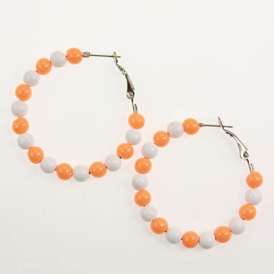 Seasons Jewelry Clemson Beaded Hoop Earrings