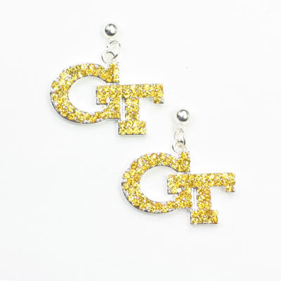 Seasons Jewelry Georgia Tech Crystal Logo Earring