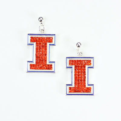Seasons Jewelry Illinois Crystal Logo Earring