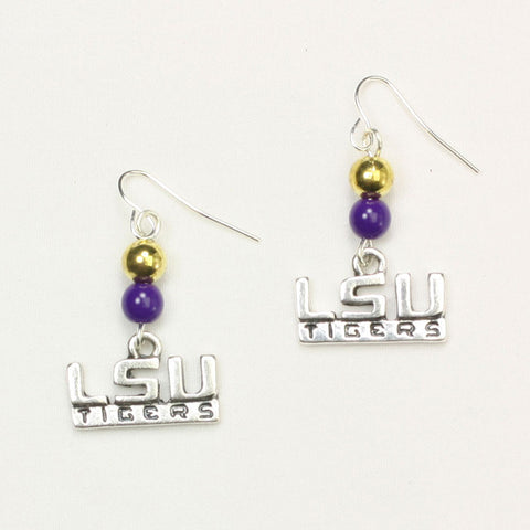 Seasons Jewelry Lsu Wire Logo Earring